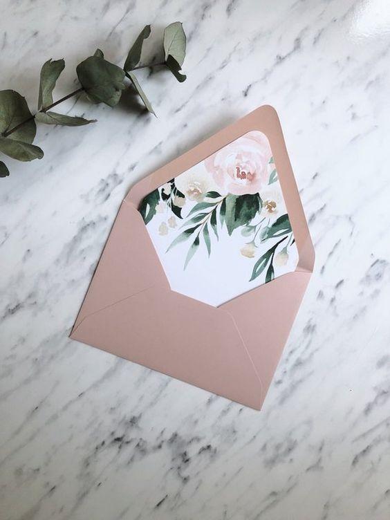 Envelope Liner Template Blush Floral Greenery Envelope Liner | Etsy