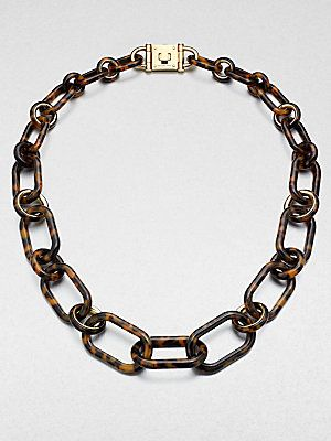 LOVE LOVE LOVE! Yes please! Michael Kors Tortoise-Pattern Chain Link Necklace