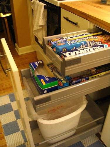 Maybe turn this trash pull out drawer from ikea into a cutting boards drawer with bag and - Ikea cabinet trash pull out ...