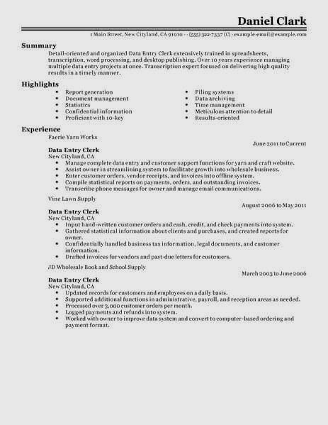 Resume Examples Data Entry Resume Templates Data Entry Clerk Resume Examples Sample Resume