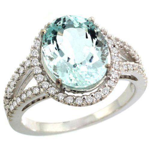 14k White Gold ( 12x10 mm ) Halo Engagement Aquamarine Ring w/ 0.23 Carat Brilliant Cut Diamonds & 3.90 Carats Oval Cut Stone, size 5: Jewelry: Amazon.com