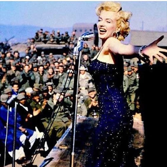 Another fabulous photo shared by @charlestonian1 Here is Marilyn entertaining the troops  #Marilyn #Monroe #marilynmonroe #normajean #normajeane #vintage #classic #beautiful #oldhollywood #blondebombshell #icon #classichollywood #vintagehollywood #goddess #moviestar #legend #actress #mm #yourdailymarilyn