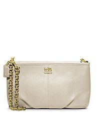COACH MADISON LEATHER LARGE WRISTLET WITH CHAIN