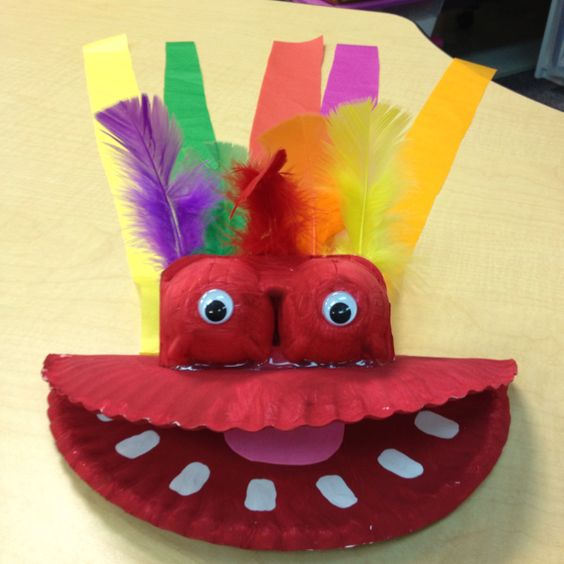 Dragon we made for Chinese New Year. Paint, paper plate, egg cartons  and tissue paper.