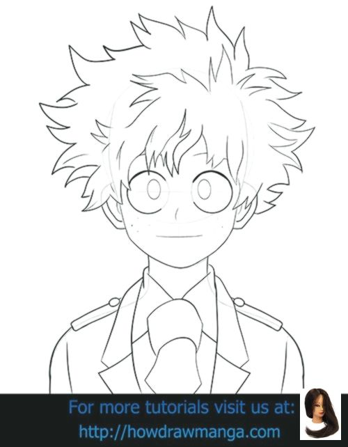 Academia Boku Drawing Drawing Ideas Step By Step Hero Izuku Midoriya Step Boku No Hero Academ Anime Drawings Art Drawings Sketches Simple Manga Drawing