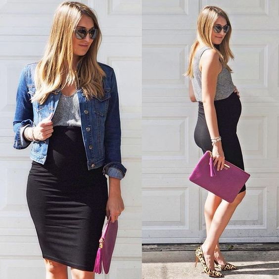Black pencil skirt - maternity pencil skirt: