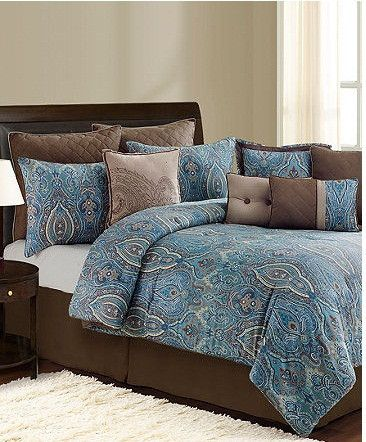 An exotic paisley print brings elegance and intrigue to the Budapest decorator set, featuring soothing tones of blue and brown. Quilted European shams, a soft coverlet and a plethora of decorative pillows embellish the look with plush polish.
