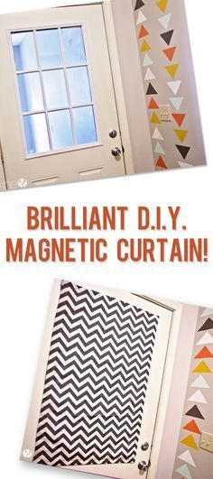 DIY Magnetic Curtain Tutorial via How Does She (great for covering a pesky window on a metal door without drilling holes and can easily be removed when not needed)