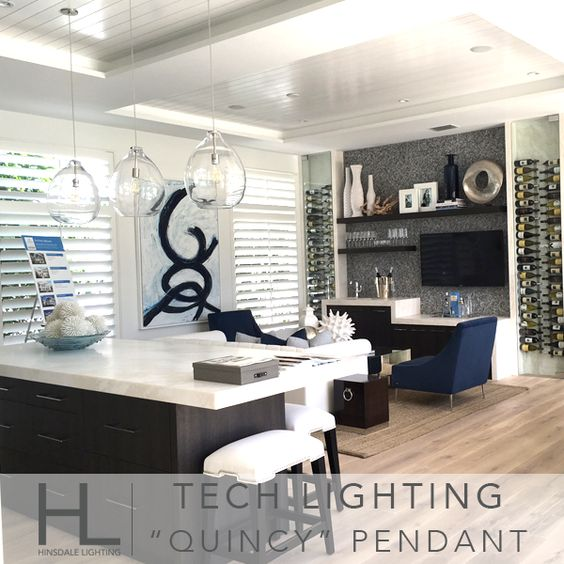 When vision comes to life....magic happens! These simple Tech Lighting pendants are the perfect compliment to this stylish interior.  #techlighting #quincypendant #alinapendant #dreamhomesofoldnaples #lightingdesign
