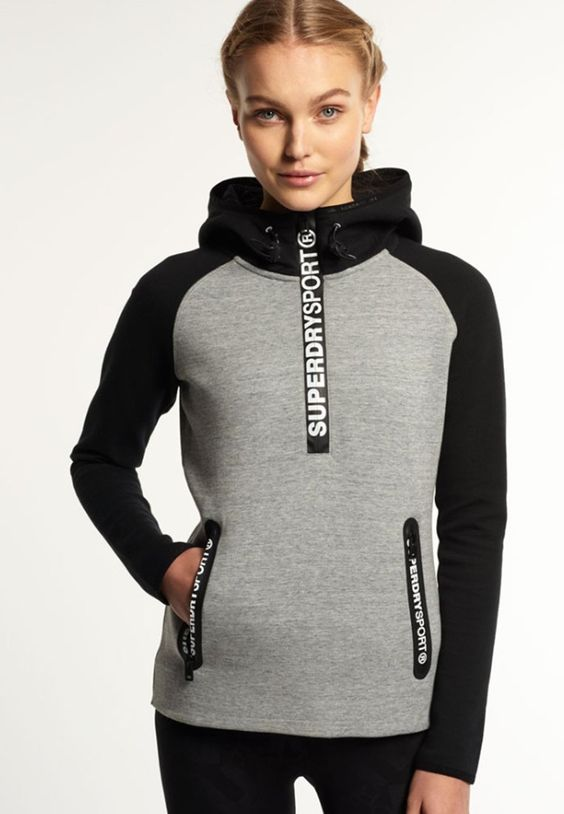 Superdry GYM TECH Sweat à capuche light grey slub/black prix promo Sweat à capuche Zalando 79.95 €