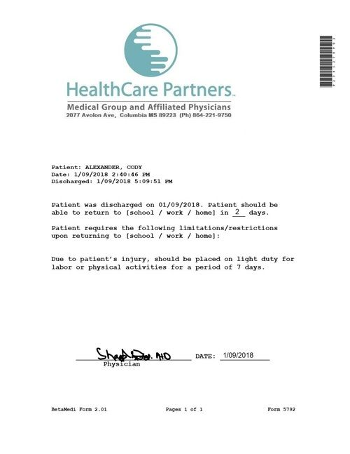 Clinic Release Healthcare Partners Doctors Note Template