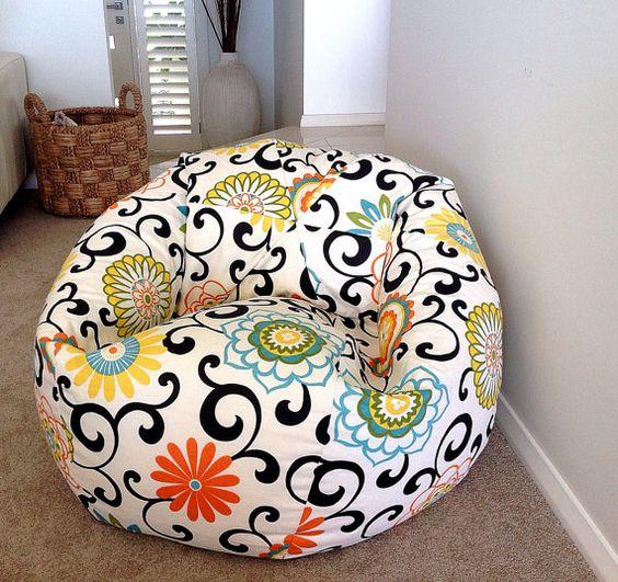 Bean Bag design moderne coloré  Floral Pom par IslandHomeEmporium