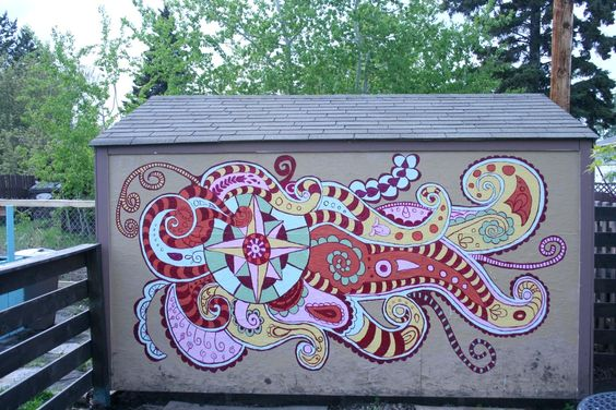 Shed Mural: Garden Ideas, Cupcakes Project, Garden Art, Mural Art, Art Cupcakes, Art Projects