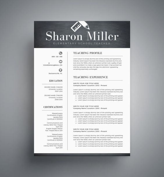 Creative Resume Template for Word + References, Cover Letter - resume for teaching profile