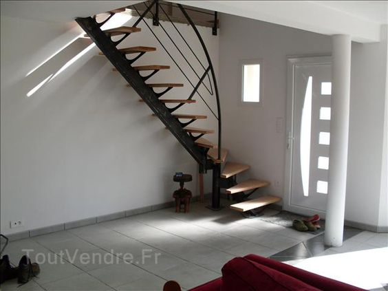 Escalier moderne tout metallique metal bois limon central 1 escalier pi - Escalier a limon central metallique ...