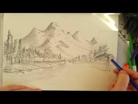 Karakalem Manzara Resmi Nasil Cizilir How To Drawing Landscape Picture Youtube Drawing Ve Manzara