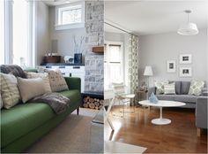Ikea Sofas in grau und grün mit Kissen