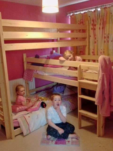 Happy Kids In Their L Triple Bunk Bed Bunk Beds For Girls Room Bunks Cool Beds
