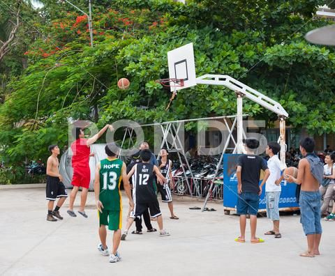 Vietnamese Boys Playing Basketball Stock Photo 48502810 Boys