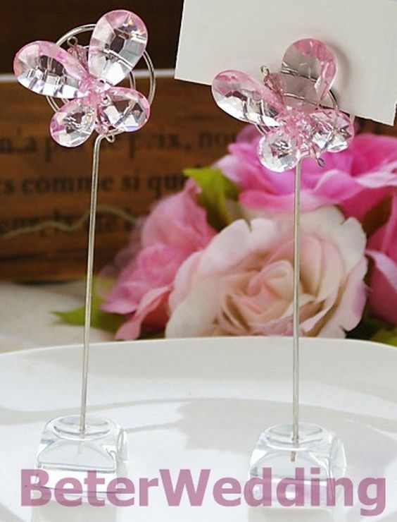 Exquisite Pink Crystal Butterfly Place Card Holders SJ015/B Shanghai Beter Gifts Co Ltd@http://Beile.en.alibaba.com