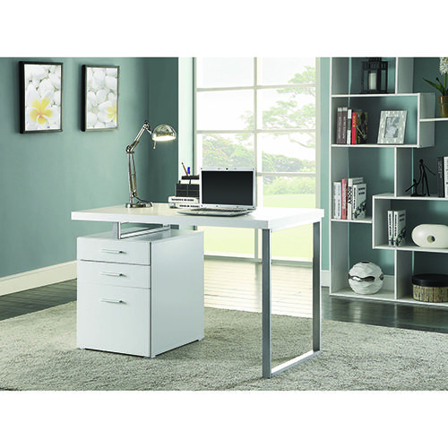 Coaster Furniture White And Silver Writing Desk With File Drawer