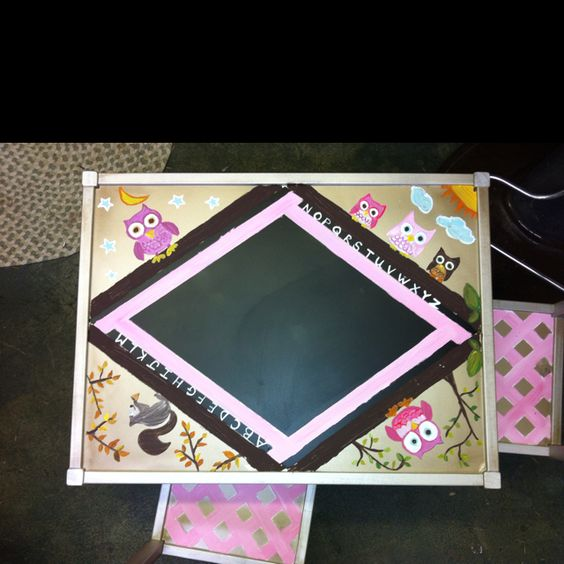 Chalkboard paint center, hand painted gift for 1 year old. Ikea table only $19.00 (comes with 2 chairs)