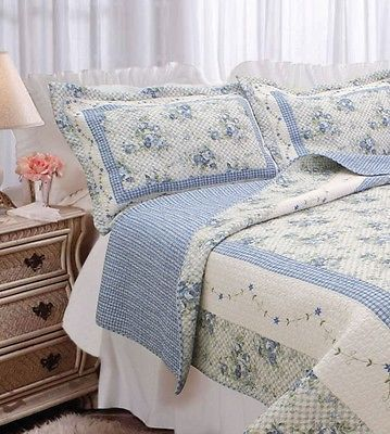 BLUE-COTTAGE-GARDEN-King-QUILT-SET-GINGHAM-SHABBY-ROSES-CHIC-COMFORTER