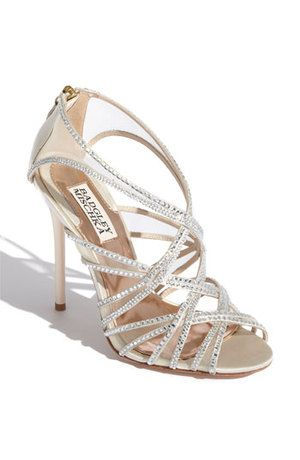 Badgley Mischika silver sandal beaded wedding shoes.