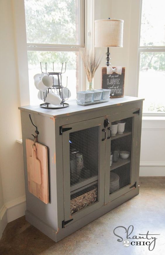 Diy farmhouse coffee cabinet over it dining rooms and for Diy mirrored kitchen cabinets