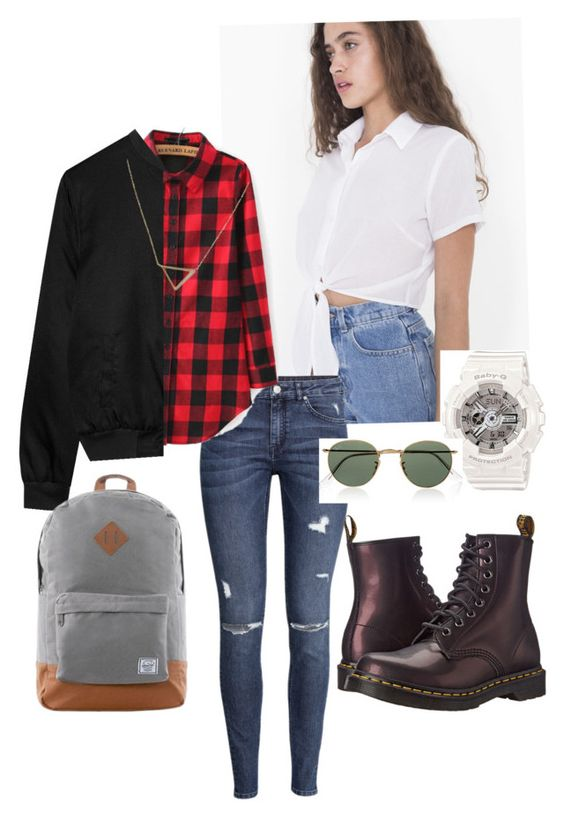 """""""My first day back to school outfit and if you guys are wondering why there is a flannel and the jackeit just mean that we are layering for cold places which is here in toronto and the flannel goes under and the jacket is on top"""" by jojogogo2003 on Polyvore featuring H&M, Alygne, Dr. Martens, Herschel, Banana Republic, G-Shock and Ray-Ban"""