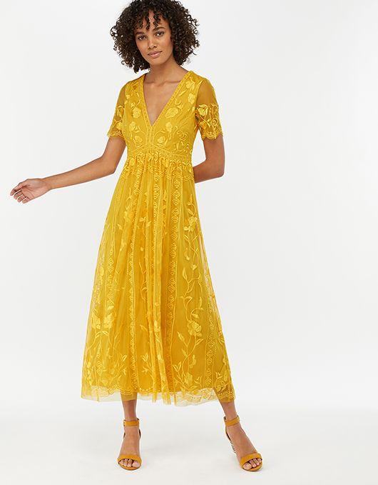 Valentina Embroidered Midi Dress Yellow Uk 10 Us 6 Eu 38 6429471410 Monsoon Embroidered Midi Dress Yellow Midi Dress Midi Dress