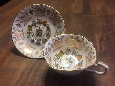 1960's Vintage Paragon English Bone China Canada Coat Of Arms Teacup And Saucer
