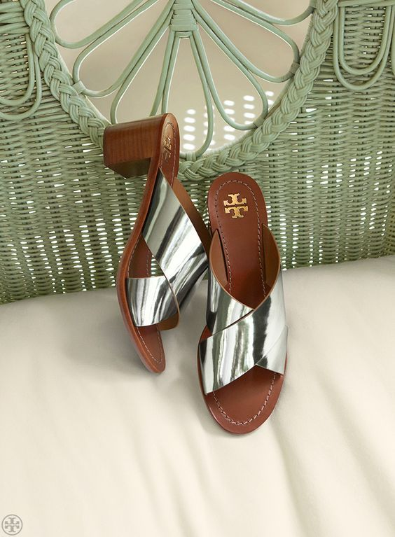 Beautiful metallic leather mules