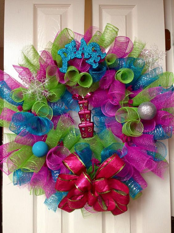 Neon Colored Curly Christmas Wreath Peace by LifeBySoniaWreaths