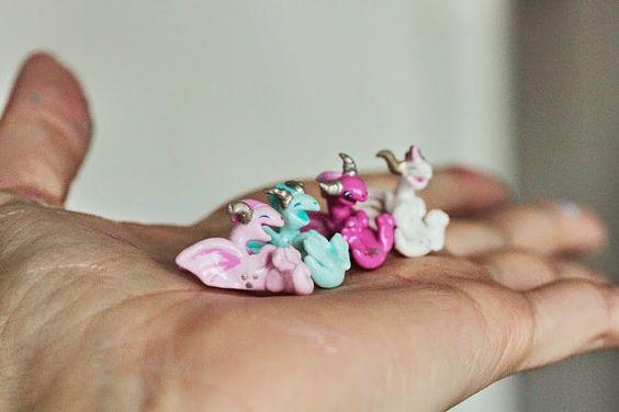 Miniature fuchsia pink Valentine Dragon tiny by MijbilCreatures