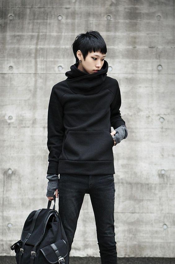 black hoodie - rai akimi