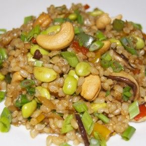 fried rice with edamame and cashews