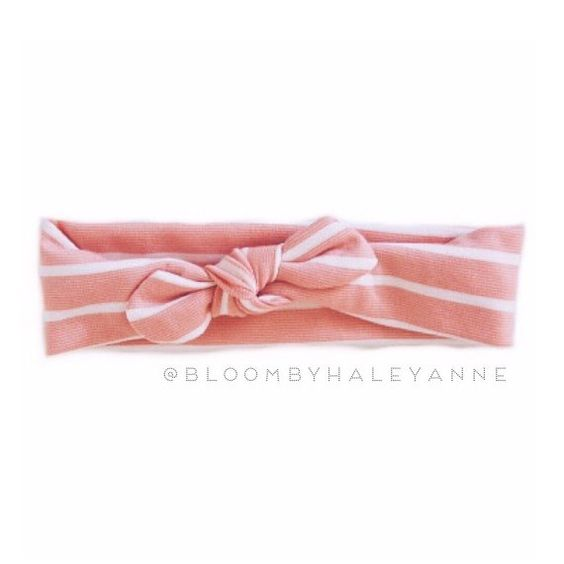 Stripe head wrap - dusty pink and cream- wide stretch headband