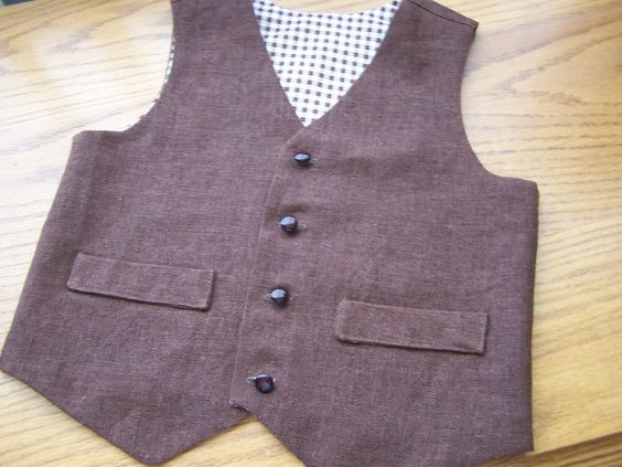Chocolate Brown Linen Vest for Baby Boy or Toddler by siomaragw