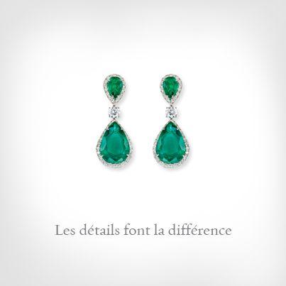 Platino con brillantes y gotas de esmeralda. Colección La Sophistication