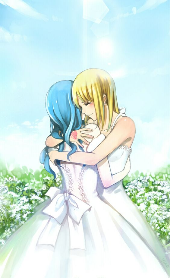 Lucy Heartfilia and Juvia Loxar Their in their wedding dresses!!!