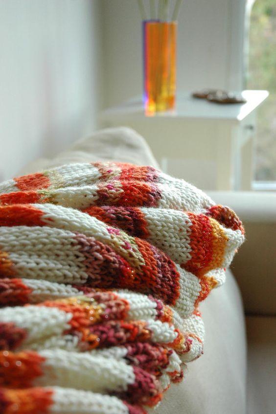 Hand knit big blanket.