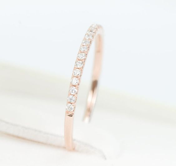 Diamond Half Eternity Wedding Band 14K Rose Gold by SundariGems, $350.00