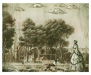 Декоративное панно «Английский парк» - холст - Д34хШ27
