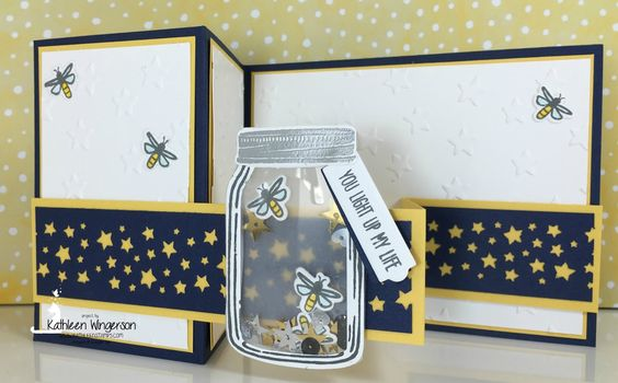 Let's celebrate summer evenings and amazing fireflies with this cute Double Z Fold, Shaker card, featuring the Jar of Love stamp set bundle from Stampin' Up!