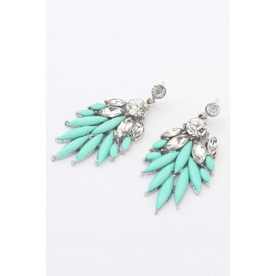 Leaf Shaped Crystals Decorated Earrings ($5.99) ❤ liked on Polyvore featuring jewelry, earrings, leaf earrings, leaves earrings and leaf jewelry