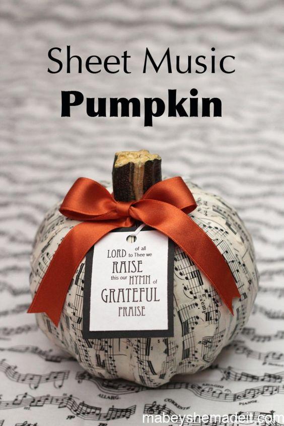 Sheet Music Pumpkin | Mabey She Made It
