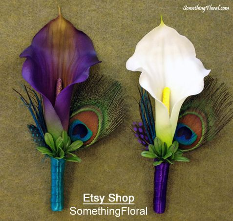 Realistic, artificial, purple and white calla lily, peacock feather boutonnieres accented with teal and purple ribbon and spotted pheasant feathers.