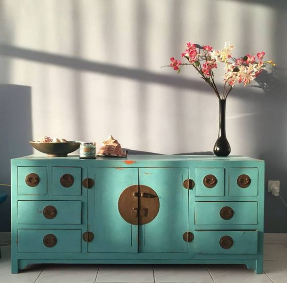The Imperfect Parlour in Dubai used Provence Chalk Paint® by Annie Sloan for a beautiful jade-inspired color on a lovely oriental dresser!