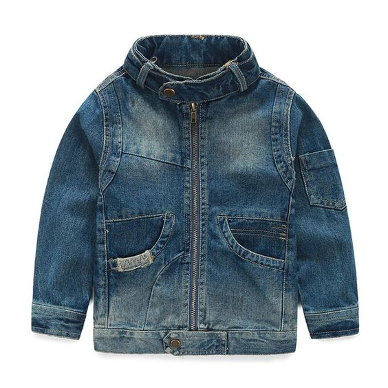 Spring/Autumn Stand Collar Ripped Denim Kids Jackets for Boys ...